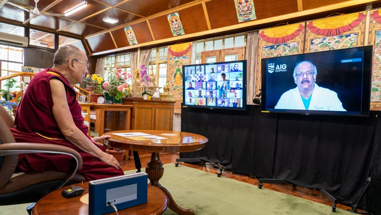 His Holiness the Dalai Lama taking questions from health care professionals audience during his talk on Compassion in Healthcare online from his residence in Dharamsala, HP, India on July 7, 2021. Photo by Ven Tenzin Jamphel