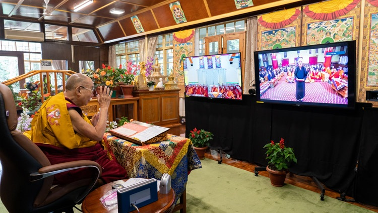 Thupstan Chhewang, President of Ladakh Buddhist Association, at the Jokhang Temple in Leh, Ladakh, India, introducing the first day of His Holiness the Dalai Lama's online teachings on July 13, 2021. Photo by Ven Tenzin Jamphel