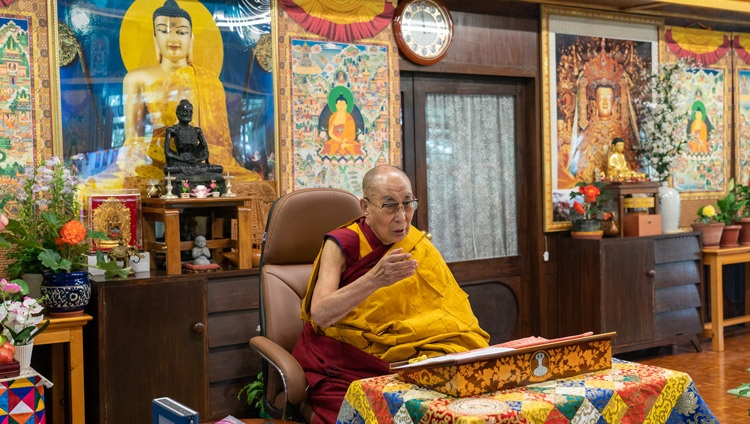 His Holiness the Dalai Lama speaking on the first day of his two day online teaching from his residence in Dharamsala, HP, India on July 13, 2021. Photo by Ven Tenzin Jamphel