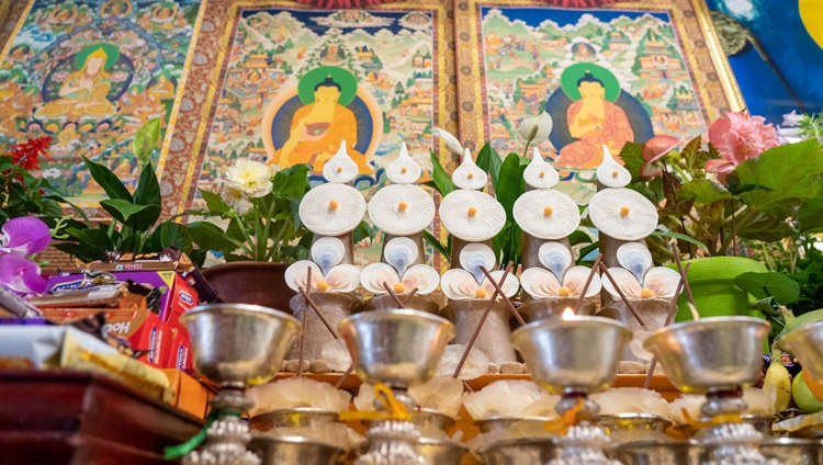 A view of the offerings displayed behind His Holiness the Dalai Lama during his online teaching from his residence in Dharamsala, HP, India on July 13, 2021. Photo by Ven Tenzin Jamphel