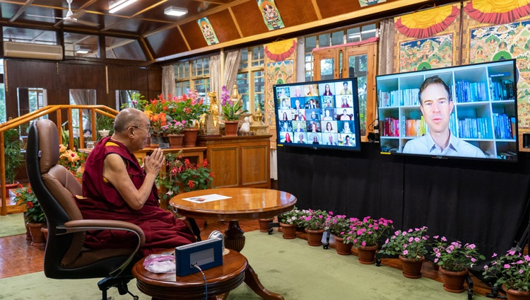 Dr Mark Williamson, the Director of Action for Happiness, introducing the question and answer session with members of the virtual audience during His Holiness the Dalai Lama's online conversation on 'Creating a Happier World' from his residence in Dharamsala, HP, India on July 28, 2021. Photo by Ven Tenzin Jamphel