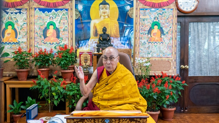 His Holiness the Dalai Lama addressing the virtual audience during his online conversation with Indonesian students from his residence in Dharamsala, HP, India on August 11, 2021. Photo by Ven Tenzin Jamphel