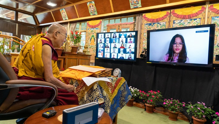 A member os the virtual audience asking His Holiness the Dalai Lama a question during his online conversation with Indonesian students from his residence in Dharamsala, HP, India on August 11, 2021. Photo by Ven Tenzin Jamphel