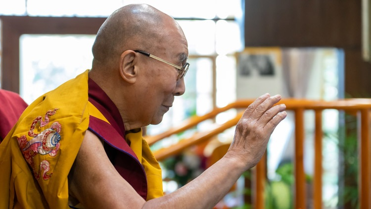 His Holiness the Dalai Lama waving to the virtual audience from Korea as he arrives for his online teaching at his residence in Dharamsala, HP, India on August 18, 2021. Photo by Ven Tenzin Jamphel