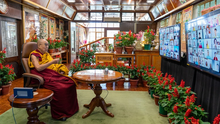 His Holiness the Dalai Lama speaking to the virtual audience during his online teaching from his residence in Dharamsala, HP, India on August 18, 2021. Photo by Ven Tenzin Jamphel