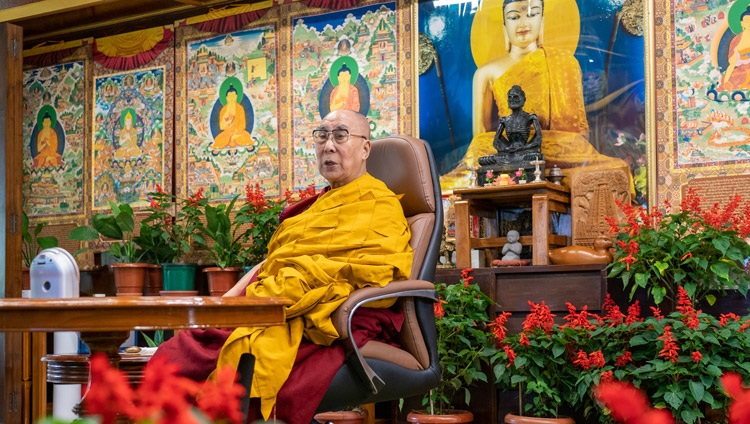 His Holiness the Dalai Lama during his online teaching requested by Korean Buddhists at his residence in Dharamsala, HP, India on August 18, 2021. Photo by Ven Tenzin Jamphel
