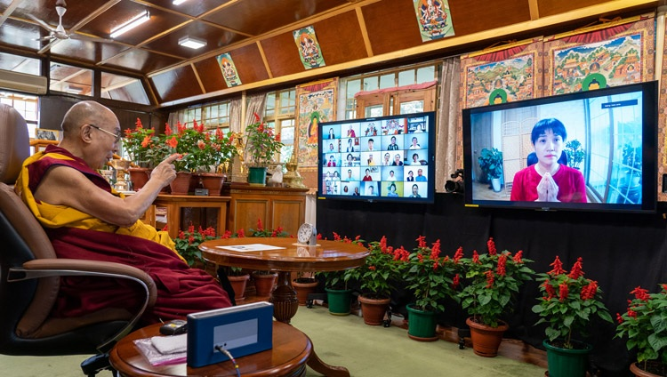 His Holiness the Dalai Lama answering a question from a member of the virtual audience during his online teaching at his residence in Dharamsala, HP, India on August 18, 2021. Photo by Ven Tenzin Jamphel