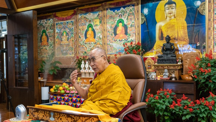 His Holiness the Dalai Lama speaking on the first day of his two day teaching online from his residence in Dharamsala, HP, India on September 8, 2021. Photo by Ven Tenzin Jamphel