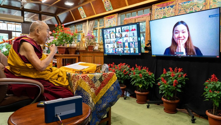 His Holiness the Dalai Lama answering a question from a member of the virtual audience on the first day of his two day teaching requested by Asian Buddhists online from his residence in Dharamsala, HP, India on September 8, 2021. Photo by Ven Tenzin Jamphel