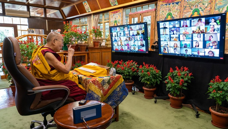 His Holiness the Dalai Lama addressing the virtual audience of Asian Buddhists on the second day of teachings online from his residence in Dharamsala, HP, India on September 9, 2021. Photo by Ven Tenzin Jamphel