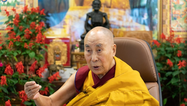 His Holiness the Dalai Lama speaking on the second day of his teachings on Chandrakirti's 'Entering into the Middle Way' online from his residence in Dharamsala, HP, India on September 9, 2021. Photo by Ven Tenzin Jamphel