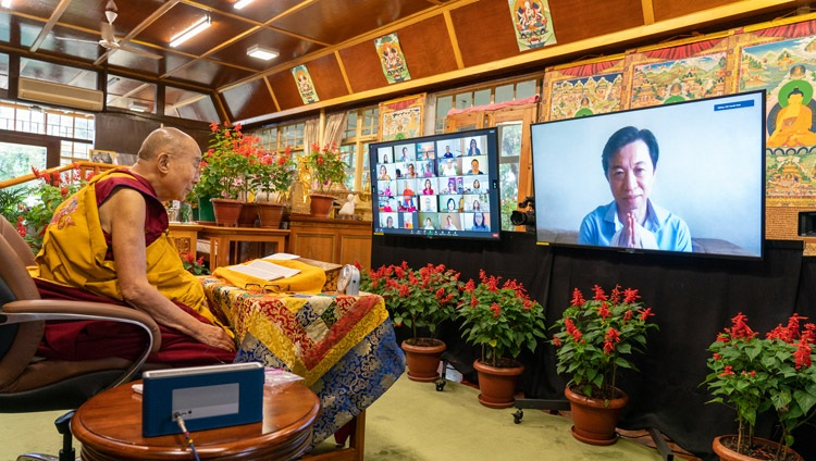 His Holiness the Dalai Lama answering a question from a member of the virtual audience on the second day of his teachings on Chandrakirti's 'Entering into the Middle Way' online from his residence in Dharamsala, HP, India on September 9, 2021. Photo by Ven Tenzin Jamphel