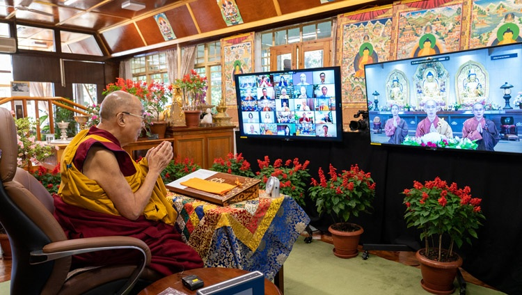 Monks in Taiwan chanting the 'Heart Sutra' in Chinese at the start of His Holiness the Dalai Lama's online teachings from his residence in Dharamsala, HP, India on October 9, 2021. Photo by Ven Tenzin Jamphel