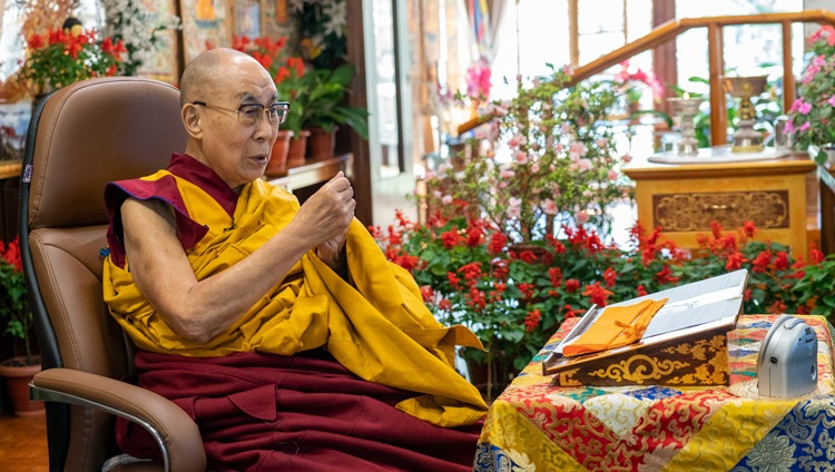 His Holiness the Dalai Lama addressing the virtual audience on the first day of his online teachings from his residence in Dharamsala, HP, India on October 9, 2021. Photo by Ven Tenzin Jamphel