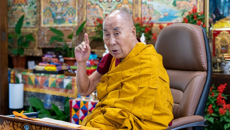 His Holiness the Dalai Lama speaking on the first day of his two day online teaching from his residence in Dharamsala, HP, India on October 9, 2021. Photo by Ven Tenzin Jamphel