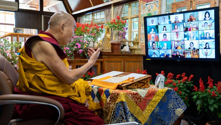 His Holiness the Dalai Lama commenting on Jé Tsongkhapa's 'In Praise of Dependent Origination' on the first day of online teachings from his residence in Dharamsala, HP, India on October 9, 2021. Photo by Ven Tenzin Jamphel