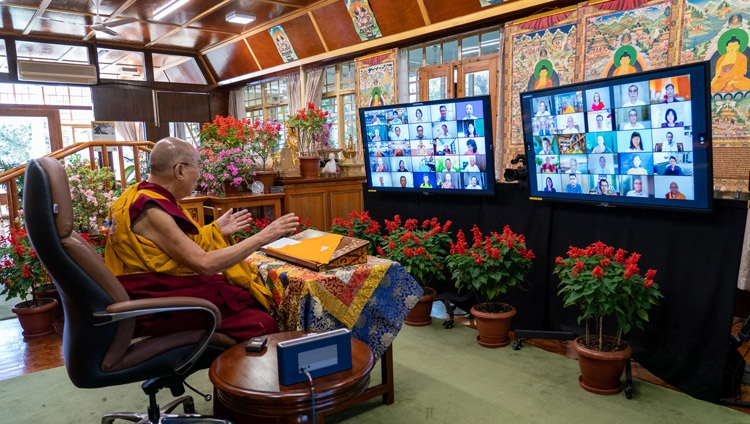 His Holiness the Dalai Lama addressing the virtual audience on the second day of his two day online teaching from his residence in Dharamsala, HP, India on October 10, 2021. Photo by Ven Tenzin Jamphel