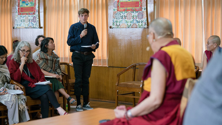 A student from the University of California San Diego asking His Holiness the Dalai Lama a question during their meeting at his residence in Dharmasla, HP, India on September 6, 2017. Photo by Tenzin Choejor/OHHDL