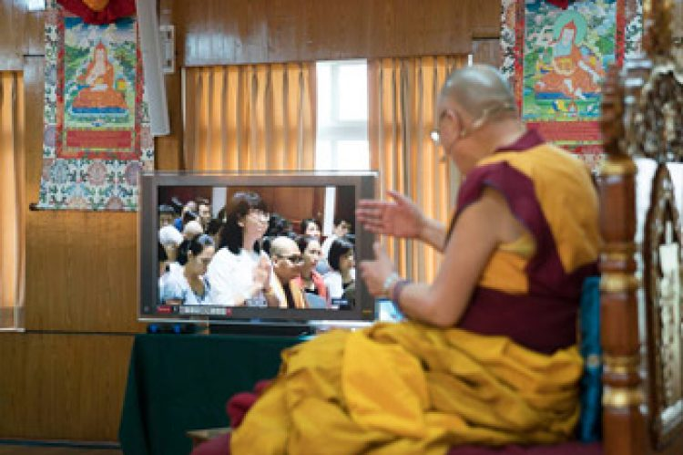 His Holiness the Dalai Lama answering a question from a viewer in Vietnam through a video conference link from his residence in Dharamsala, HP, India on October 29, 2016. Photo/Tenzin Choejor/OHHDL