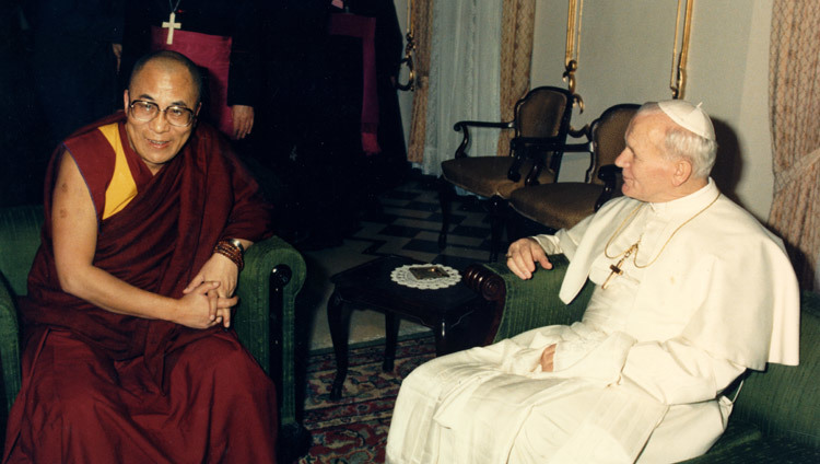 His Holiness the Dalai Lama with His Holiness Pope John Paul II in Vatican City on June 14, 1988.