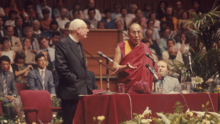 His Holiness the Dalai Lama delivering an address in London, United Kingdom in July of 1984.