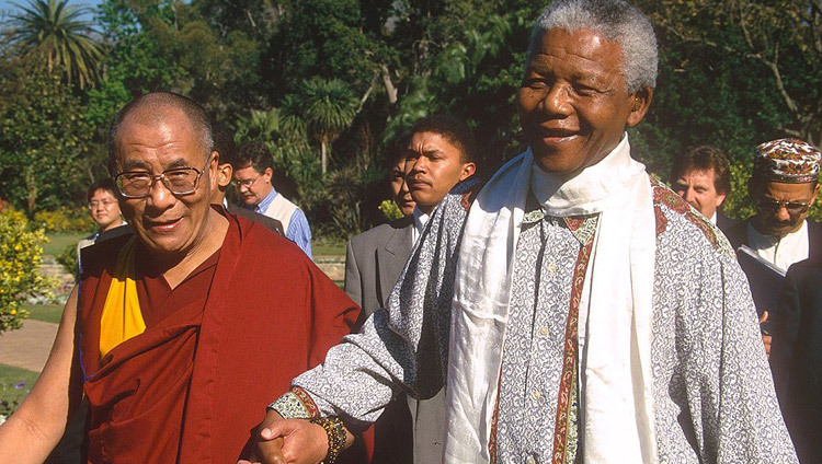 His Holiness the Dalai Lama with Former President of South Africa Nelson Mandela in Johannesburg, South Africa on November 5, 2004.