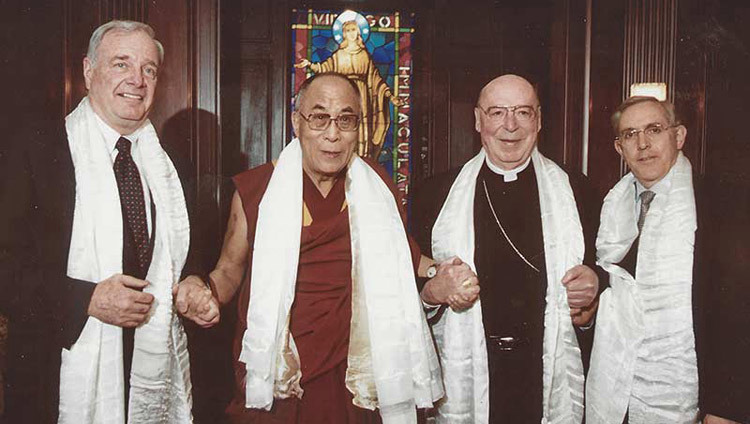 His Holiness the Dalai Lama with Canadian Prime Minister Paul Martin and Archbishop of Ottawa Marcel Gervais in Ottawa, Canada on April 23, 2004.