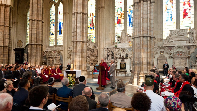 His Holiness the Dalai Lama addresses the congregation including representatives from different religious groups during a service of prayer and reflection at Westminster Abbey in London, England, on June 20, 2012. (Photo by Ian Cumming)