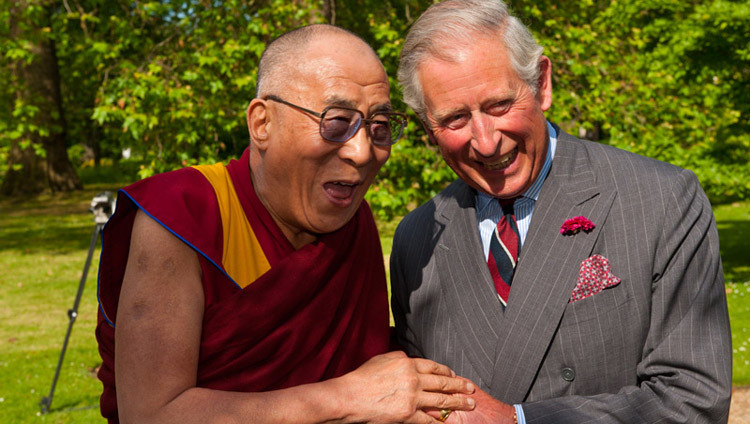 His Holiness the Dalai Lama with Britain's Prince Charles at Clarence House in London, England, on June 20, 2012. (Photo by Ian Cumming)