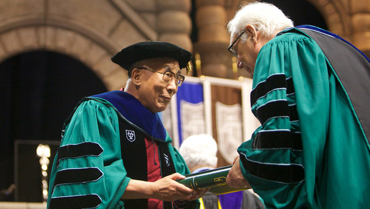 His Holiness the Dalai Lama accepting an honorary doctorate from Tulane University in New Orleans, Louisiana, USA on May 18, 2013.