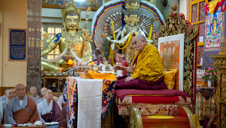 His Holiness the Dalai Lama teaching at the Main Tibetan Temple at the request of a group of Korean Buddhist in Dharamsala, HP, India on August 27, 2013. (Photo by Tenzin Choejor/OHHDL)