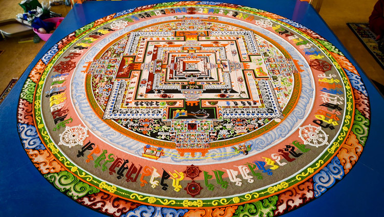 The completed Kalachakra sand mandala constructed during the 33rd Kalachakra Empowerment in Leh, Ladakh, J&K, India in July of 2014. (Photo by Tenzin Choejor/OHHDL)