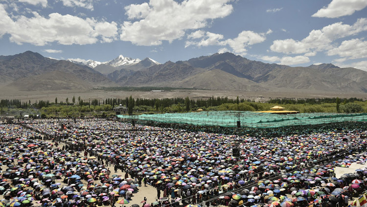 A view of the crowd at the Shiwatsel Teaching Ground, venue for the 33rd Kalachakra Empowerment in Leh, Ladakh in July of 2014. (Photo by Tenzin Choejor/OHHDL)