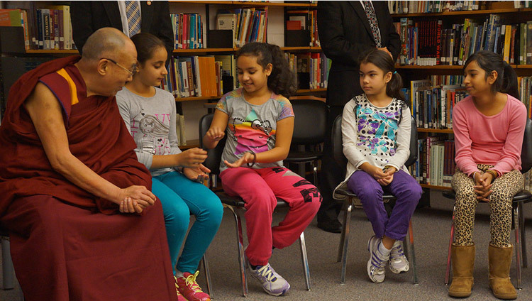 His Holiness the Dalai Lama joining students in a exercise talking about gratitude at John Oliver School in Vancouver, Canada on October 21, 2014. (Photo by Jeremy Russell/OHHDL)