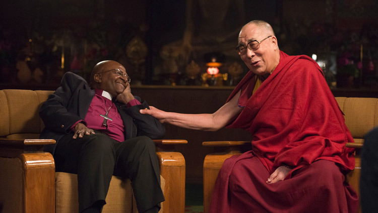 His Holiness the Dalai Lama and Archishop Desmond Tutu during the conversation on joy at His Holiness's residence in Dharamsala, HP, India on April 21, 2015. (Photo by Tenzin Choejor/OHHDL)