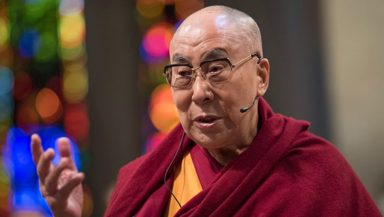 His Holiness the Dalai Lama speaking at Grossmuenster Church in Zurich Switzerland on October 15, 2016. (Photo by Manuel Bauer)