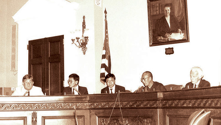 His Holiness the Dalai Lama addressing the US Congressional Human Rights Caucus and announcing his Five-Point Peace Plan for Tibet in Washington DC, USA on September 21, 1987.