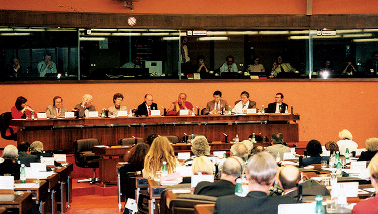 His Holiness the Dalai Lama addressing the European Parliament on the Five-Point Peace Plan in Strasbourg, France on June 15, 1988.
