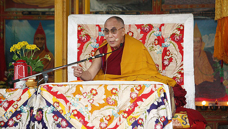 His Holiness the Dalai Lama remarking on his retirement from political responsibilities during a public teaching at the Main Tibetan Temple in Dharamsala, HP, India on March 19, 2011. (Photo by Tenzin Choejor/OHHDL)