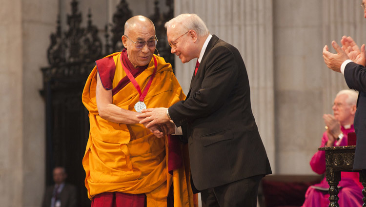 His Holiness the Dalai Lama receiving the Templeton Prize in a ceremony in London, UK on May 14, 2012.