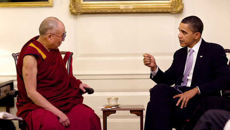 His Holiness the Dalai Lama with US President Barack Obama at the White House in Washington, DC on February 18, 2010. (Official White House Photo)