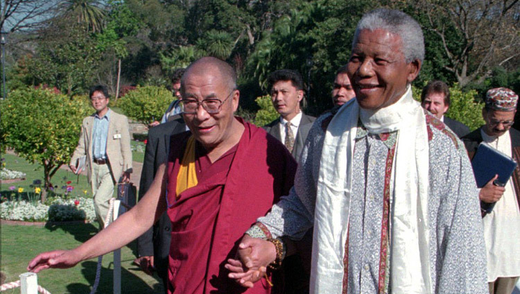 His Holiness the Dalai Lama with Nelson Mandela during his visit to South Africa in August of 1996.
