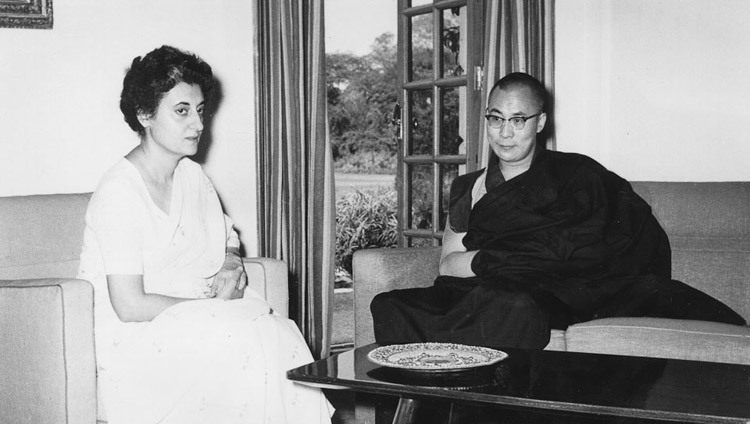 His Holiness the Dalai Lama with Indian Prime Minister Indira Gandhi in New Delhi, India on August 6, 1966.