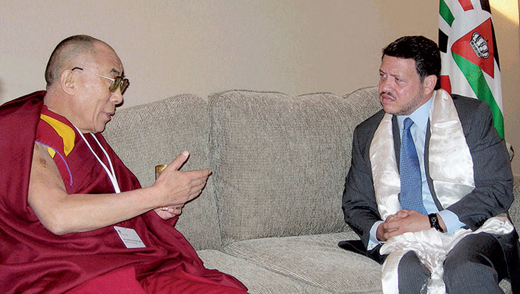 His Holiness the Dalai Lama meeting with King Abdullah II of Jordan in Petra, Jordan on June 21, 2006.