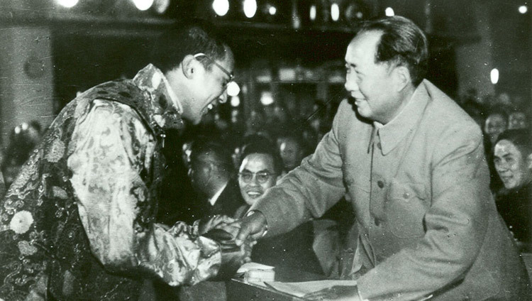 His Holiness the Dalai Lama and Chairman of the CPC Mao Tse-Tung in Peking, China sometime in 1954/55.