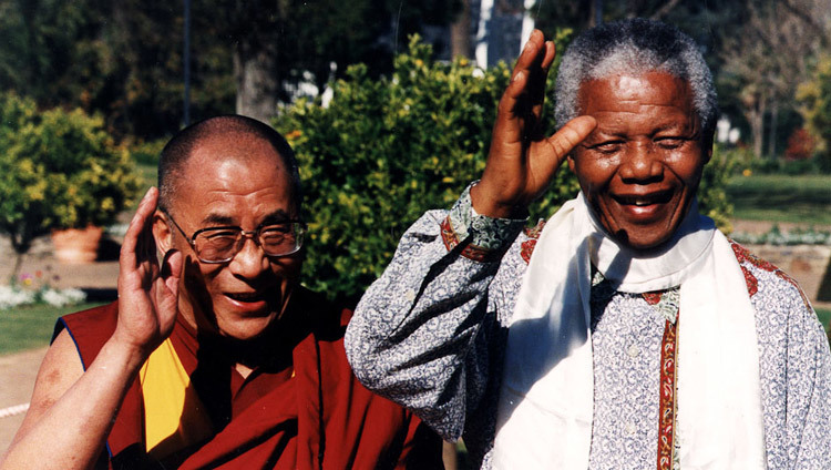 His Holiness the Dalai Lama with South African President Nelson Mandela in Cape Town, South Africa on August 21, 1996.