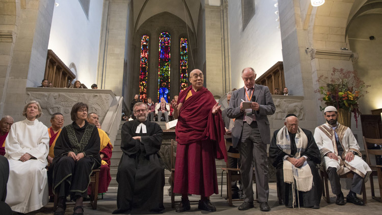 His Holiness the Dalai Lama with speaking at an interfaith prayer meeting at Grossmuenster Church in Zurich Switzerland on October 15, 2016. (Photo by Manuel Bauer)