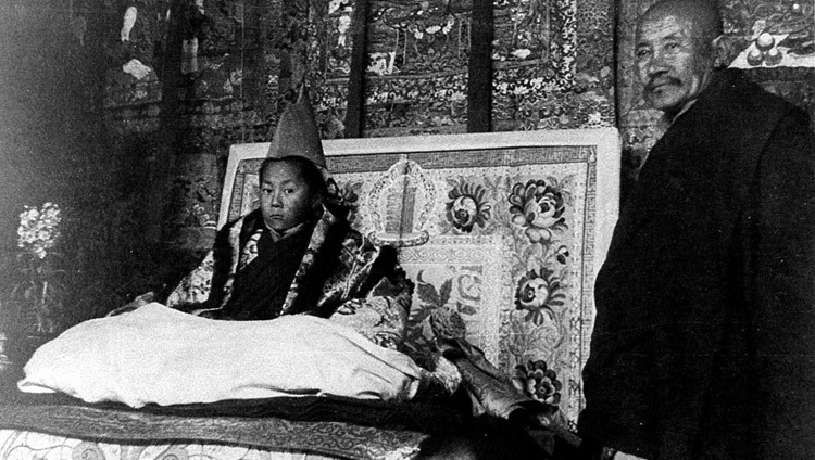 His Holiness sitting on the throne during his official enthronement ceremony in Lhasa, Tibet on February 22, 1940.