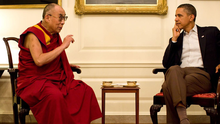 President Barack Obama meeting with His Holiness the Dalai Lama in the Map Room of the White House in Washington DC, USA on July 16, 2011. (Photo by Pete Sousa/Official White House Photo)