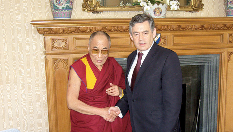 His Holiness the Dalai Lama with UK Prime Minister Gordon Brown in London, UK, on May 23, 2008.